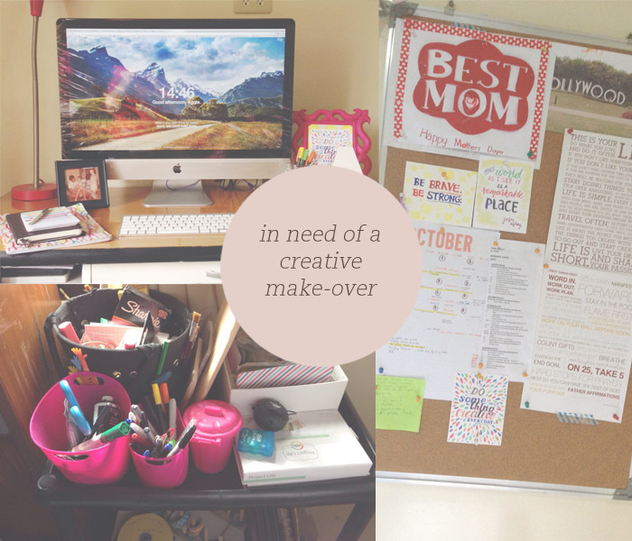 1. My desk. The iMac prettifies everything by default I know but everything else needs a better place. 2. My thingamajigs aka creative kalat. 3. My big corkboard which I don't refer to as much as I want to.